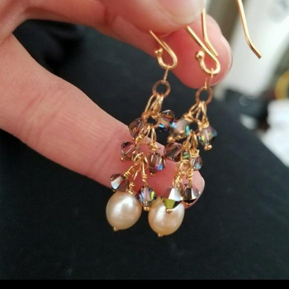 e86b75274271e7 Creation by Naya Jewelry | Dainty Gold Earrings Swarovski Pearls 14k ...